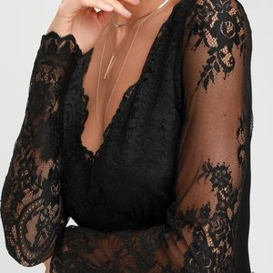 All About That Lace Black Lace Long Sleeve Bodysui